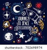 set of sketch stars  rocket ... | Shutterstock .eps vector #702698974