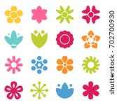 flower icon collection in flat... | Shutterstock .eps vector #702700930