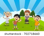 children playing at the park... | Shutterstock .eps vector #702718660