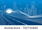 highway in mountains. tower and ... | Shutterstock .eps vector #702732604