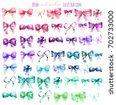 set of watercolor colorful bows ... | Shutterstock . vector #702733000