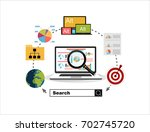flat illustration web analytics ... | Shutterstock .eps vector #702745720