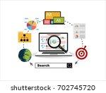 flat illustration web analytics ... | Shutterstock .eps vector #702745720