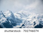 Small photo of Mount Blanc mountain with snow and murk