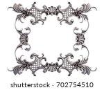 chrome frame on a white... | Shutterstock . vector #702754510