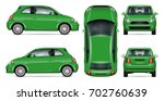 green mini car vector mock up... | Shutterstock .eps vector #702760639