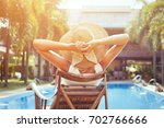 beach holidays and travel ... | Shutterstock . vector #702766666