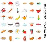 restaurant icons set. cartoon... | Shutterstock .eps vector #702783190