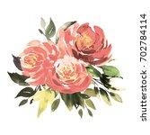 bouquet of vintage pink roses ... | Shutterstock . vector #702784114