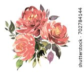 bouquet of three vintage roses. ... | Shutterstock . vector #702784144