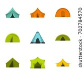 outdoor tent form icon set.... | Shutterstock .eps vector #702784570