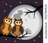 two owls on a black branch of a ... | Shutterstock .eps vector #702784924