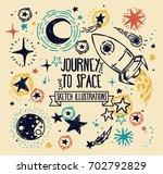 set of sketch stars  rocket ... | Shutterstock .eps vector #702792829