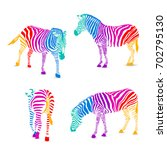 set of colorful zebra.  wild... | Shutterstock .eps vector #702795130