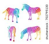 set of colorful zebra.  wild...   Shutterstock .eps vector #702795130