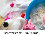 housewife with rubber...   Shutterstock . vector #702800050