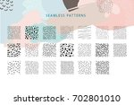 collection of vector seamless... | Shutterstock .eps vector #702801010