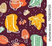 cute fall seamless pattern | Shutterstock .eps vector #702803920