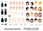 woman character creation set.... | Shutterstock .eps vector #702821269