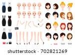 woman character creation set.... | Shutterstock .eps vector #702821269