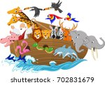 Cartoon Noah's Ark Isolated On...