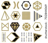 set of line art elements  icons ... | Shutterstock .eps vector #702844069