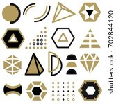 set of line art elements  icons ... | Shutterstock .eps vector #702844120