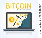 bitcoin mining concept. earning ...   Shutterstock .eps vector #702848200