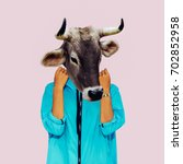 hipster cow minimal collage art.... | Shutterstock . vector #702852958