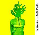 minimal art collage green... | Shutterstock . vector #702853090