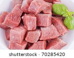 Bowl Of Diced Beef Over White...