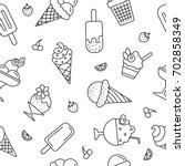 seamless pattern with ice cream ... | Shutterstock .eps vector #702858349
