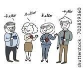 set of happy people standing ... | Shutterstock .eps vector #702859360