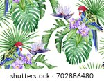 bright parrot  purple orchids ... | Shutterstock . vector #702886480