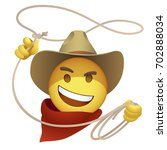 smiley cowboy with a lasso.... | Shutterstock .eps vector #702888034