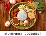 nasi kerabu  popular malay rice ... | Shutterstock . vector #702888814