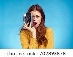 woman with camera  retro camera ... | Shutterstock . vector #702893878