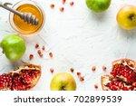 frame of pomegranate ... | Shutterstock . vector #702899539