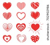 set of red hearts. collection... | Shutterstock .eps vector #702902986