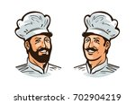 happy cook  chef logo or label. ... | Shutterstock .eps vector #702904219