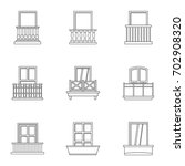 architecture balcony icon set.... | Shutterstock .eps vector #702908320