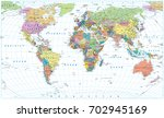 colored world map   borders ... | Shutterstock .eps vector #702945169