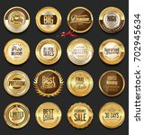 luxury retro badges gold and... | Shutterstock .eps vector #702945634