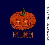 sketch style jack o' lantern on ... | Shutterstock .eps vector #702954763