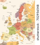 europe map   vintage detailed... | Shutterstock .eps vector #702956548