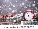 clock   berries and branches... | Shutterstock . vector #702958693