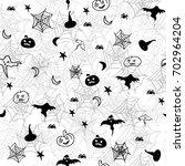 halloween seamless pattern   Shutterstock .eps vector #702964204