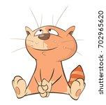 illustration of a cute cat....   Shutterstock . vector #702965620