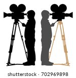 old cameraman silhouette | Shutterstock .eps vector #702969898