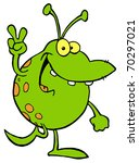 green alien smiling and... | Shutterstock . vector #70297021